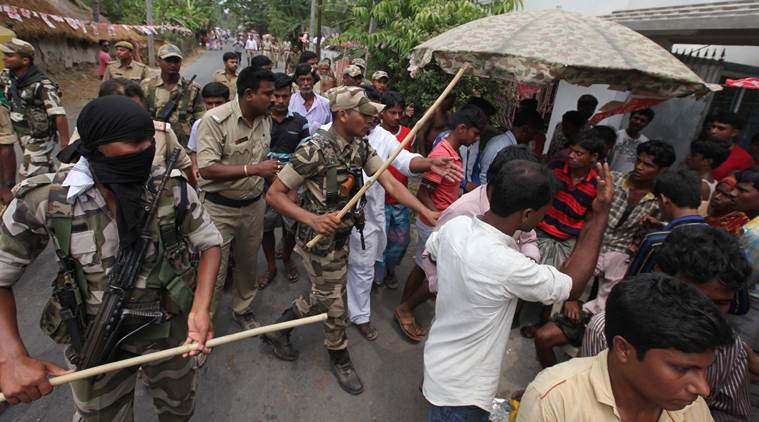Central force at Bhangankhali Village under Basanti Constituency after the incident . As supporters of RSP  says they are  beaten by TMC . Express photo by Partha Paul.30.04.16